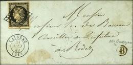 Grille / N° 3 Càd T 15 LAISSAC (11) B Rur B Sur Lettre Avec Texte Daté 1849 Pour Rodez. - SUP. - R. - 1849-1850 Ceres