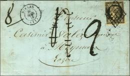 Grille / N° 3 Càd T 15 MILLAU (11) Sur Lettre Insuffisamment Affranchie Pour Meyrueis, Taxe 4 Annulée Plume Et Remplacée - 1849-1850 Ceres