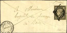 Grille / N° 3 Càd T 15 CASSAGNES-BEGONNES 11 Sur Lettre Avec Texte Pour Rodez. 1850. - TB. - R. - 1849-1850 Ceres