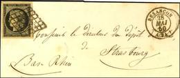 Grille / N° 3 Nuance Chamois, Superbes Marges Càd T 15 BESANCON (24) Sur Lettre Partielle Pour Strasbourg. 1850. - TB. - - 1849-1850 Ceres