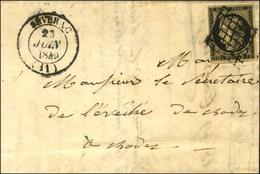 Grille / N° 3 Càd T 14 SEVERAC (11) Sur Lettre Avec Texte Pour Rodez. 1849. - TB / SUP. - R. - 1849-1850 Ceres