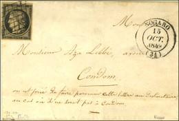 Grille / N° 3 Càd T 14 NOGARO (31) 1849 Sur Lettre Pour Condom. - TB / SUP. - 1849-1850 Ceres