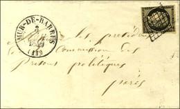 Grille / N° 3 (def) Càd T 13 MUR-DE-BARRES (11) Sur Lettre Adressée à La Commission Des Prisons Politiques à Paris. 1849 - 1849-1850 Ceres