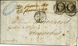 Càd T 15 BORDEAUX (32) 20 FEVR. 49 / N° 3 (2) Sur Lettre 2 Ports Avec Texte Pour Avranches. Exceptionnelle Combinaison D - 1849-1850 Ceres