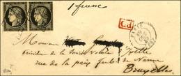 Grille / N° 3 Paire (1 Ex Def) Càd PARIS (60) Sur Lettre Pour Bruxelles. 1849. - TB. - R. - 1849-1850 Ceres