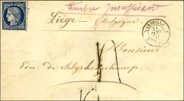 PC 1896 / N° 4 (def) Càd 2 MARSEILLE 2 (12) Sur Lettre Insuffisamment Affranchie Pour Liège, Taxe Tampon 4. 1852. - TB.  - 1849-1850 Ceres