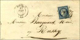 PC 2172 / N° 4 (pd) Càd T 14 MORTEAU (24) Sur Lettre Pour Russey. Sous Le Timbre, Taxe 25 DT. 1852. - TB. - 1849-1850 Ceres