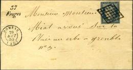 Grille / N° 4 Càd T 15 DOMENE (37) Cursive 37 / Froges Sur Lettre Avec Texte Pour Grenoble. 1850. - SUP. - R. - 1849-1850 Ceres