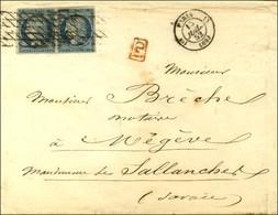 Grille Sans Fin / N° 4 Paire Càd PARIS (60) Sur Lettre Pour Megève (Etats Sardes), Au Verso Càd D'arrivée Sarde SALLANCH - 1849-1850 Ceres