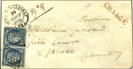 Grille / N° 4 Paire (belles Marges) Càd T 14 DUN-LE-PALLETEAU (22) Sur Lettre Chargée Pour Jarnac. 1850. - SUP. - R. - 1849-1850 Ceres