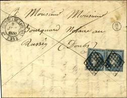 Grille / N° 4 (2) Càd T 14 ST HYPPOLYTE (DOUBS) (24) Sur Lettre 2 Ports Pour Russey. Au Recto, B / 2 Boite Rurale Supplé - 1849-1850 Ceres