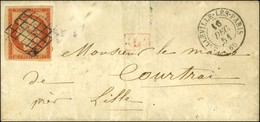 Grille / N° 4 Càd T 15 BELLEVILLE-LES-PARIS 60 Sur Lettre Pour Courtrai. 1851. - TB. - R. - 1849-1850 Ceres