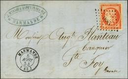 PC 1885 / N° 5 Belles Marges Càd T 15 MARMANDE (45) 5 AOUT 54 Sur Lettre 2 Ports Pour Ste Foy (tarif Du 1er Juillet 1854 - 1849-1850 Ceres