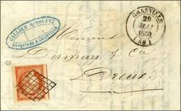 Grille / N° 5 Orange Vif, Très Belles Marges Càd T 14 GRANVILLE (48) Sur Lettre 2 Ports Pour Dreux. 1850. - SUP. - R. - 1849-1850 Ceres