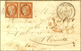 PC 3322 / N° 5 Paire (1 Ex Filet Effleuré) Càd T 14 TARTAS (39) Sur Lettre Pour Plymouth. 1853. - TB. - R. - 1849-1850 Ceres