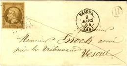 PC 3546 / N° 9 Bistre Brun Foncé (très Belle Nuance) Càd T 15 VESOUL (69) Sur Lettre Locale. 1854. - SUP. - R. - 1852 Louis-Napoleon