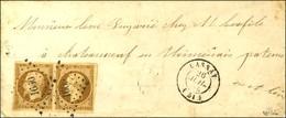PC 1660 / N° 9 Paire Bistre Brun Foncé Càd T 15 LASSAY (51) 26 JUIL. 54 Sur Lettre Territoriale Pour Chateauneuf En Thym - 1852 Louis-Napoleon