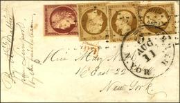 Rouleau De Points / N° 6 + 9 (3) Sur Lettre Pour New York. - TB / SUP. - R. - 1852 Louis-Napoleon