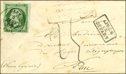 Càd T 15 CAEN (13) / N° 12 Sur Lettre Insuffisamment Affranchie Pour Pau, Taxe Manuscrite 25c. 1862. - TB / SUP. - 1853-1860 Napoleon III