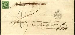 Grille / N° 12 (leg Def) Càd LETTRE AFFie DE PARIS POUR PARIS Sur Imprimé Taxe 25c Annulée. 1855. - TB. - 1853-1860 Napoleon III