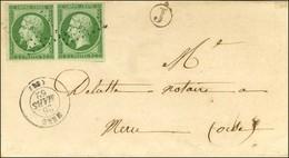 PC 1968 / N° 12 Paire Càd T 15 MERU (58) Sur Lettre Locale. 1862. - TB / SUP. - 1853-1860 Napoleon III