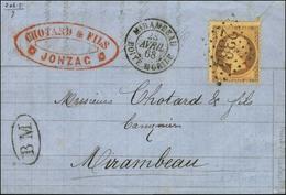 GC 2364 / N° 23 Càd T 15 MIRAMBEAU / BOÎTE MOBILE + BM Sur Lettre Avec Texte Daté De Jonzac Pour Mirambeau. 1868. - TB / - 1862 Napoleon III