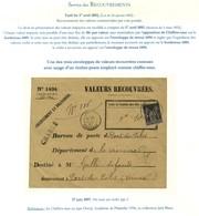 Càd ROSCOFF / FINISTERE / N° 89 Sur Valeur Recouvrée Pour Le Département De La Vienne. Une Des 3 Enveloppes De Valeur Re - Postmark Collection (Covers)