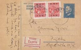 Yugoslavia Express Stationery Zagreb 1950 Bahnpost Railway TPO Postmark Zagreb-Rijeka 23 - Entiers Postaux