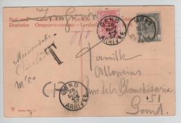 TP 53 S/CP Fantaisie C.Mons 25/9/1907 Griffe T V.Gand Taxée 10 C Par TTx 5 C.Gand Arrivée 26/9/07 AP2057 - Portomarken