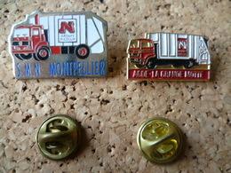 LOT PIN'S  CAMION POUBELLE  HERAULT MONTPELLIER LA GRANDE MOTTE - Transportation