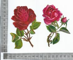 CHROMO DECOUPIS GAUFRÉE / DEUX BELLES ROSES ROUGES - Flowers