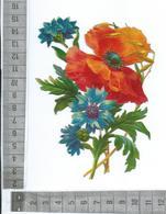 CHROMO DECOUPIS GAUFRÉE / FLEUR DE COQUELICOT AVEC BLEUET ET GRAMINÉE - Flowers