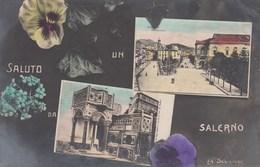 SALERNO-SALUTINO CON  DUE IMMAGINI SU TEMA FLOREALE-CARTOLINA VIAGGIATA IL 4-12-1909 - Salerno