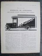 PUBBLICITA'/PUBLICITE' FOURGON DE LIVRAISON SAURER 2 TONNES,FAUX CABRIOLET,da Rivista AUTO CARRROSSERIE 1927 - Cars