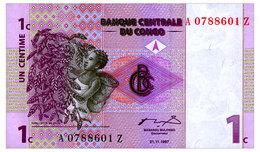 CONGO DEMOCRATIC REPUBLIC 1 CENTIME 1997 REPLACEMENT Pick 80r Unc - Democratic Republic Of The Congo & Zaire
