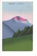 19953 - Bonne Année Handgemalte Paysage Montagne Volcan Carte Peinte à La Main - Nouvel An