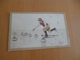 CPA Curling Illustrée Par Mégioni - Postcards