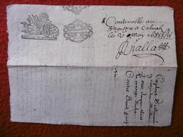 PAPIER TIMBRE CACHET GENERALITE TOULOUSE MONTAUBAN MANUSCRIT VERSO 1685 - Cachets Généralité