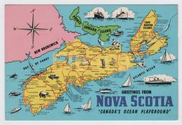 Canada, Carte Géographique, Greetings From Nova Scotia, Canada's Ocean Playground, Neuve - Carte Geografiche