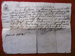 PAPIER TIMBRE GENERALITE TOULOUSE RESSORT DU PARLEMENT VERSO  1677 - Cachets Généralité
