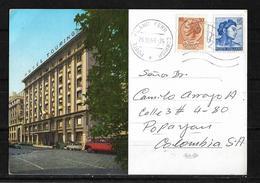 Postal Italiana De 1968 Hotel Touring Dirigida A Colombia - Italia