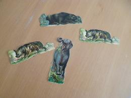 4 Découpis Anciens Animaux Ours éléphant Hyène - Animals