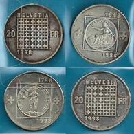 SVIZZERA 1998 - Confederation / Republic - 2 X 20  Fs. / CHF - SPL - Argento / Argent / Silver 835 / 000 - Suiza