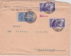 ITALIE 1932 LETTRE DE SORA AVEC TIMBRES PERFORES/FORATO  BCI - Storia Postale