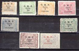 1921; Briefmarken Des Königreiches Syrien, Mit Aufdruck OMF, Neu Mit Falz, Michel-Nr. 144-152 (OHNE147) Los 49790 - Syrie