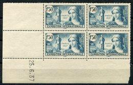 RC 9109 FRANCE N° 336 - EXPOSITION INTERNATIONALE DE PARIS 1937 COIN DATÉ NEUF ** - France