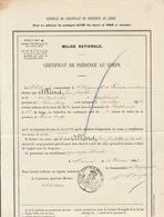 Milice Nationale Certificat De Présence Au Corps Allard De Robelmont Namur 1881 - Documenten