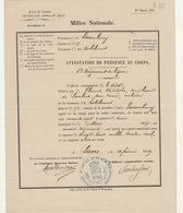 1869 Milice Nationale Certificat De Présence Au Corps Clément De Robelmont Lierre - Documenten