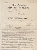 1883 Milice Nationale Incorporation Milicien Arlon 1884 En 4 Pages Grand Format - Documenten