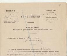 1887 Milice Nationale Exemption Du Chef De Service De Frère Robelmont - Documenten